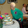 Anna Bresson Maye, former Botsford postmaster, blew out candles on her birthday cake, served up at The Hearth at Southbury, where she is a resident. Ms Maye celebrated her 100th birthday with her friends and family Thursday, June 5. Another birthday celebration for Ms Maye was held on May 31 at the Botsford Post office. (Gaston photo)
