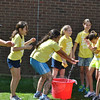 A watery mayhem and plenty of giggles ensue as fourth grade students finish up the Sponge Relay. (Crevier photo)