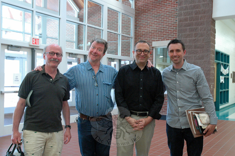From left, visiting authors and illustrators Paul Meisel, Ross MacDonald, Dan Yaccarino, and Jarrett Krosoczka stood together during the New Stories For Newtown event held at Reed Intermediate School on Saturday, June 7. —Bee Photos, Hallabeck