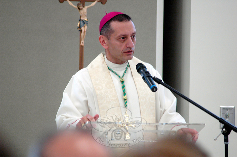 Bishop Frank J. Caggiano of Bridgeport presided over the blessing and dedication of St Rose of Lima's Holy Innocents Faith Formation Center on Saturday, June 7. (Hallabeck photo)