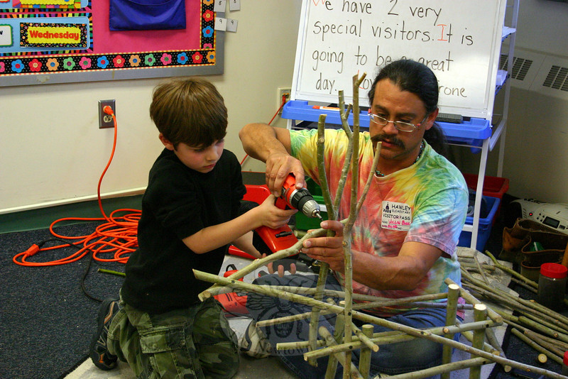 """It's always important to control your tools, and control your materials,"" Willow Bill told the children in Mrs Pirone's class, including Carter James, seen here.  (Hicks photo)"
