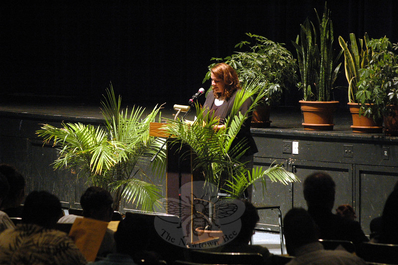 Newtown High School Guidance Director Cathy Ostar spoke during Newtown High School's Annual Awards Night for Seniors held on Wednesday, June 4. (Hallabeck photo)