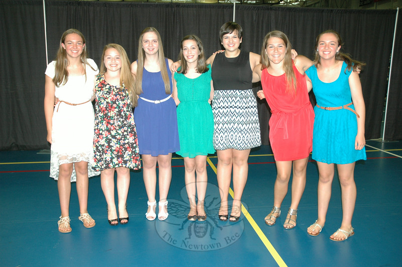 From left, Emily Payne, Jackie Seras, Ava Petrellese, Tara Franklin, Kelly Garcia, Lauryn Ankers, and Angela Payne stood together before the NMS Moving-Up Ceremony began. (Hallabeck photo)
