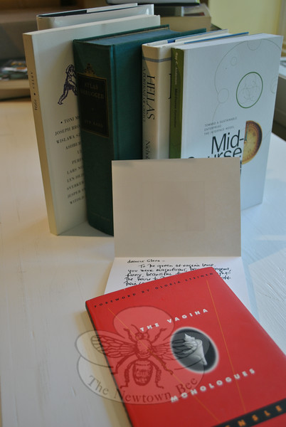 A collection of five books from the library of actress Glenn Close is priced at $500. The collection includes a stated first edition of The Vagina Monologues, inscribed to Ms Close by author Eve Ensler. An interesting pictorial notecard is included with that book, also from Ms Ensler to Ms Close, who was one of several stars who performed the Broadway play of the book.  (Crevier photo)