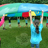 Sandy Hook School students worked together to hoist a parachute in the air during the school's Field Day, held on June 12. (Hallabeck photo)