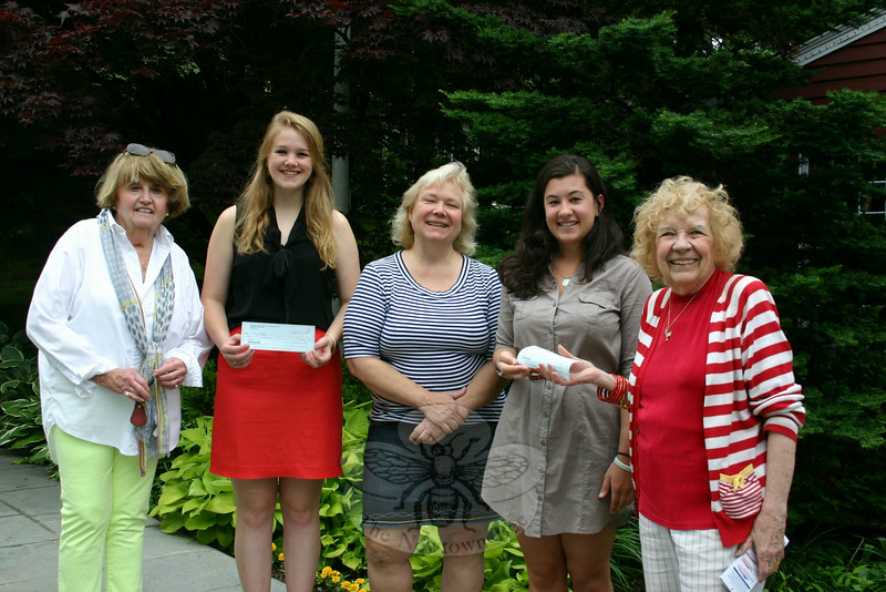 On June 10 Newtown VNA presented two more scholarship checks to students it had promised awards. Erin Begg, second from left, received a $4,000 VNA Scholarship check, and Meredith Bridges, second from right, received a $2,500 Janice Van Syckle Scholarship award. Erin was the NHS Class of 2012 salutatorian, and is now attending the University of Pennsylvania. Meredith is also a member of the NHS Class of 2012, and is now attending the University of Vermont. With the young women, from left, are VNA Scholarship Committee member Maureen McLaughlin of Newtown VNA, Scholarship Committee Chair Anna Wiedemann, and committee member Mae Schmidle.  (Hicks photo)