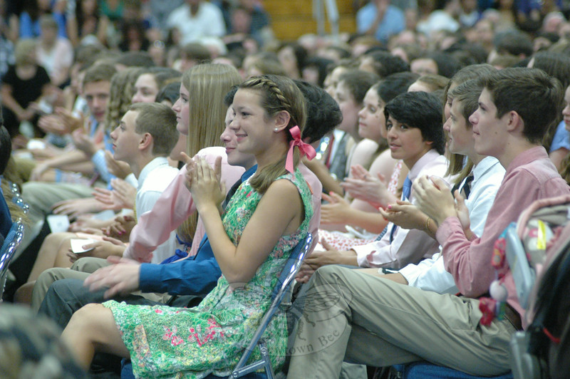 Graduating Newtown Middle School students were celebrated during a Moving Up Ceremony at Western Connecticut State University's O'Neill Center on June 16.  (Hallabeck photo)