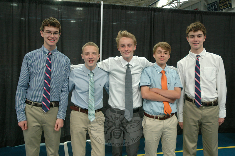 From left is Liam Jones, Matt Principi, Brendan O'Hara, Ben Drew, and Nate Jones, gathered before the NMS Moving-Up Ceremony began.  (Hallabeck photo)