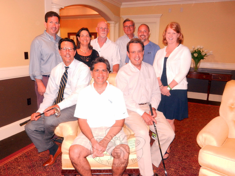 The plans are complete for the Annual Jack Friel Golf Scramble benefiting the Newtown Scholarship Association. The members of the Newtown Scholarship Association Golf Tournament Committee are from left, front row, Mark Fries, Glenn Nanavaty, and Jim Morley; back row, Ted Kohler, Julie Savino, Brian Molloy, Mark Korotash, Peter Stockwell, and Dawn Bogdan. (Sherri Baggett photo)