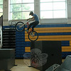 Chris Clark, representing Bell Helmets, performed stunts on his bike at the high school's Health Fair. (Hallabeck photo)