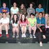 Many of the Newtown Middle School students in this Friday's production of 13 gathered together for a photo during a rehearsal on Monday, June 2. Cathy Hyeon, top row, second from left, and Talia Hankin, bottom row, second from left, are co-directing the production as their GATES independent project for this school year. (Hallabeck photo)