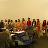 The top five percent of Newtown High School's graduating Class of 2014 stood together after being honored at the Tuesday, June 3, Board of Education meeting. (Hallabeck photo)