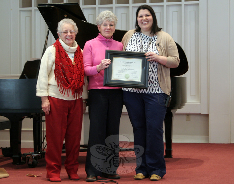 "The Newtown/Danbury unit of Church Women United hosted its annual Human Rights Celebration on March 8 at Newtown Congregational Church. The theme of the celebration was ""Through God Our Hands Can Protect."" Michelle Weinstein was the keynote speaker for the celebration. The residential and clinical services manager for Ability Beyond, Ms Weinstein shared some of the challenges and rewards of her career in the service of helping those with addictions and mental disabilities. One high-light of the morning was the presentation by the local CWU unit of a Human Rights Award to Ms Weinstein for her ""leadership service as a mentor and social activist in human rights and human development, an advocate for peach and justice with no boundaries of political system, country, cultural background or religion,"" according to the framed certificate. The award was presented to Ms Weinstein by local CWU Unit President Darlene Jackson, on the left, and local CWU Celebrations Chair Linda Manganaro, center, who is also Ms Weinstein's mother. The award came from the national level of Church Women United, Mrs Jackson pointed out Saturday morning."