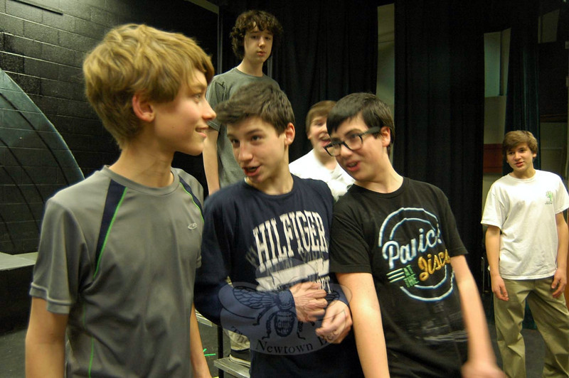Newtown Middle School students, from left, Jack Armstrong, Jack Premus, and Mathew Schumer rehearsed their roles for the upcoming musical production of Grease: School Version on Monday, March 10. (Hallabeck photo)