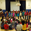 "Students gathered for Middle Gate Elementary School's Community Circle on Friday, February 28, were presented with examples of self-control by the school's third grade teachers and third graders. During one demonstration students in Andrea Martinetto's class lined up to show what using self-control while standing in a line looks like. Videos created for the event also demonstrated different ways to practice self-control, and students decided which behaviors showed self-control and which did not. When asked near the end of the event what self-control is, one student replied, ""Self-control is using control of your body and thinking of those around you.""   (Hallabeck photo)"