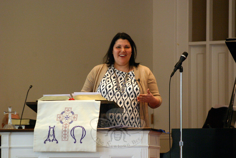 "The Newtown/Danbury unit of Church Women United hosted its annual Human Rights Celebration on March 8 at Newtown Congregational Church. The theme of the celebration was ""Through God Our Hands Can Protect."" Michelle Weinstein was the keynote speaker for the celebration. The residential and clinical services manager for Ability Beyond, Ms Weinstein shared some of the challenges and rewards of her career in the service of helping those with addictions and mental disabilities. One high-light of the morning was the presentation by the local CWU unit of a Human Rights Award to Ms Weinstein for her ""leadership service as a mentor and social activist in human rights and human development, an advocate for peach and justice with no boundaries of political system, country, cultural background or religion,"" according to the framed certificate. (Hicks photo)"