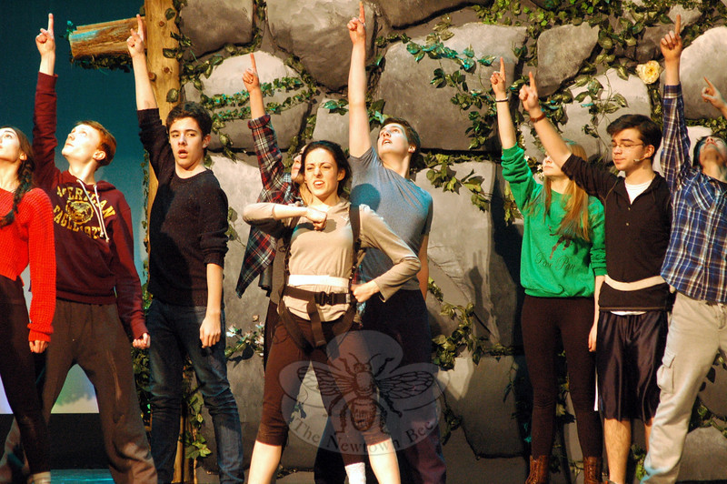 Victoria Madden, front center, has taken on the role of Peter Pan in Newtown High School's musical production of Peter Pan. (Hallabeck photo)