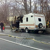 Newtown Hook & Ladder volunteer firefighters and state police responded to a report of a camper on fire on westbound Interstate 84 just west of the Currituck Road overpass about 5:45 pm on Saturday, March 15. Hook & Ladder Assistant Fire Chief Jason Rivera, who was incident commander, said that a middle-aged New York State man was driving the 1984 Ford Econoline camper on the highway when he noticed smoke coming from beneath the hood, pulled over to the right road shoulder and then called for help. The accidental fire started in the engine compartment and then spread to the truck's cab, destroying the vehicle, Mr Rivera said. There were no injuries. Twelve Hook & Ladder firefighters brought two fire engines to the scene and used 300 gallons of water to put out the blaze. The westbound highway was closed to traffic while firefighters worked. The incident caused extensive traffic backups on the highway. (Voket photo)
