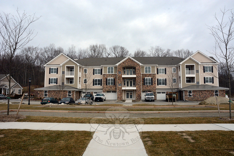 A large apartment-style condominium building is nearing completion at Newtown Woods in Hawleyville. The 17-unit building shown is expected to have initial occupancy by late April. Overall, 111 units are planned for six large buildings and 67 units are planned for smaller buildings. (Gorosko photo)