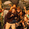 CJ Landgrebe, front center, rehearsed his part as Captain Hook during a rehearsal on Friday, March 14, for this weekend's production of Peter Pan. (Hallabeck photo)
