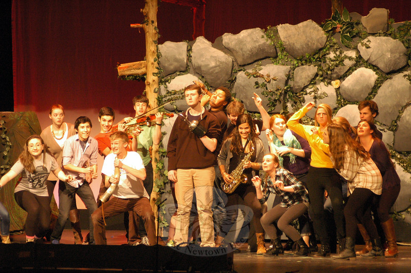 Cast members of Newtown High School's production of Peter Pan rehearsed on Friday, March 14. The show runs March 20 to 23. (Hallabeck photo)