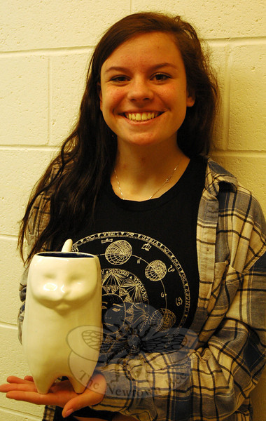 "Newtown High School junior Katherine Jennings earned a Gold Medal from the national level of the Scholastic Art & Writing Awards for her ceramic and glass piece ""Kat."" (Hallabeck photo)"
