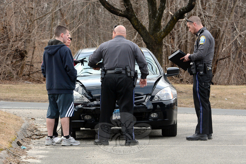 Police report a two-car accident near 98 South Main Street about 12:45 pm on March 25. Police said motorist Kristine Kelman, 48, of Wallingford was driving a 2013 Hyundai Elantra sedan southward on South Main Street and then stopped for traffic conditions, after which southbound motorist Matthew Villamana, 18, of 4 Pumpkin Lane, who was driving a 2004 Honda Accord sedan, struck the rear end of the Hyundai. Police said Kelman was transported to the hospital for treatment of injuries. Hook & Ladder firefighters responded to the incident. The accident caused in travel delays in the area. Police said they issued Villamana a written warning for following too closely. (Gorosko photo)