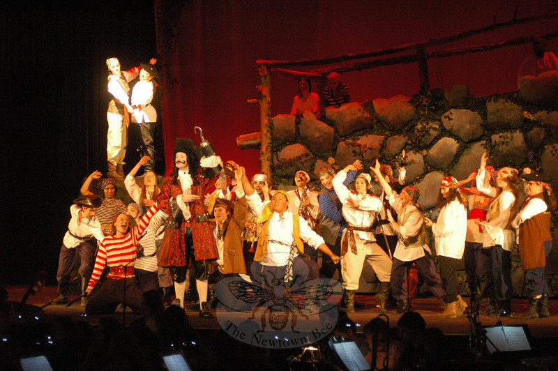 CJ Landgrebe, standing front, portrayed Captain Hook in the high school's production of Peter Pan. (Hallabeck photo)