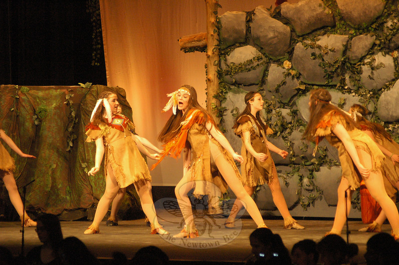 Kristen Liniger, center, as Tiger Lily during a dress rehearsal for Peter Pan. (Hallabeck photo)