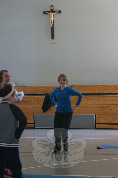 Two classes of eighth grade students had the opportunity to try PraiseMoves, an alternate to Hindu yoga, on Monday. (Hicks photo)