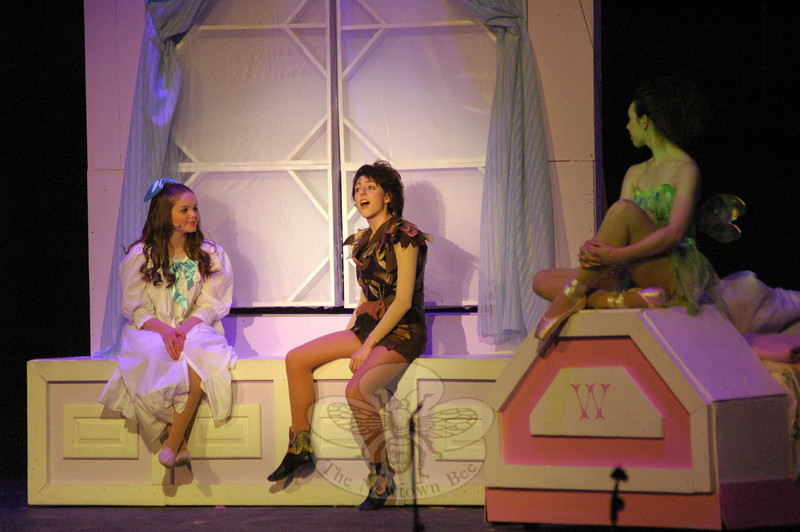 Students in the Newtown High School musical production of Peter Pan performed during a dress rehearsal on Tuesday, March 18. The play ran from March 20 to 22. (Hallabeck photo)