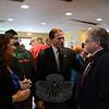 Town Clerk Debbie Aurelia Halstead speaks with Senator Richard Blumenthal, center, and VFW post 308 member Jay Gill. (Bobowick photo)