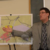 Kurt Mailman, a civil engineer with Fuss & O'Neill, Inc, explains a planned Hawleyville sanitary sewer system expansion project to about 25 people who attended a May 8 Water & Sewer Authority (WSA) informational session on the project. (Gorosko photo)