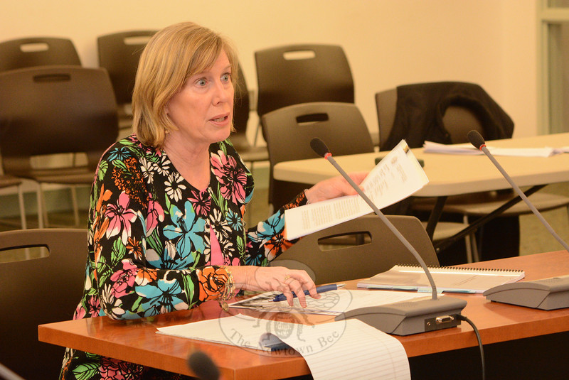 Elizabeth Stocker, town director of economic and community development, makes a point at a Planning and Zoning Commission (P&Z) meeting, at which P&Z members considered broadening the types of land uses that would be allowed at properties with M-2A (Industrial) zoning in Hawleyville.  (Gorosko photo)