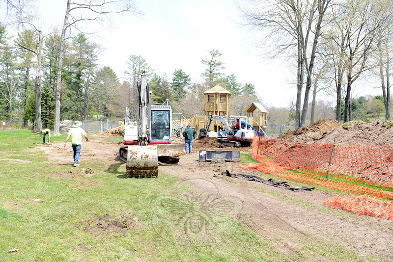 Being constructed on the same location as the former FunSpace, the new Dickinson Memorial Park playground includes a central wooden tower that Dan Corsetti, representing the firm installing the new play space, says is the focal point of the new play area. (Bobowick photo)