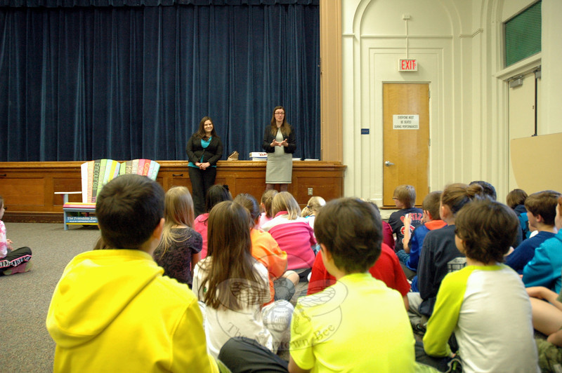 Tara Dugo of Roberts Family Law in Darien, left, and Elana Bertram, Esq, of Hawley Legal Resources, LLC, spoke to Hawley Elementary School students on Thursday, April 24. (Hallabeck photo)
