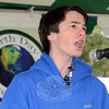 Barrett DeYoung took to the microphone on Earth Day to sing the national anthem a cappella.	(Voket photo)