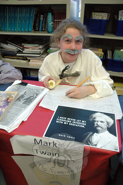Lexi Hunter presented Mark Twain during the fourth grade presentation of the Living Biographies project at Middle Gate. (Hallabeck photo)