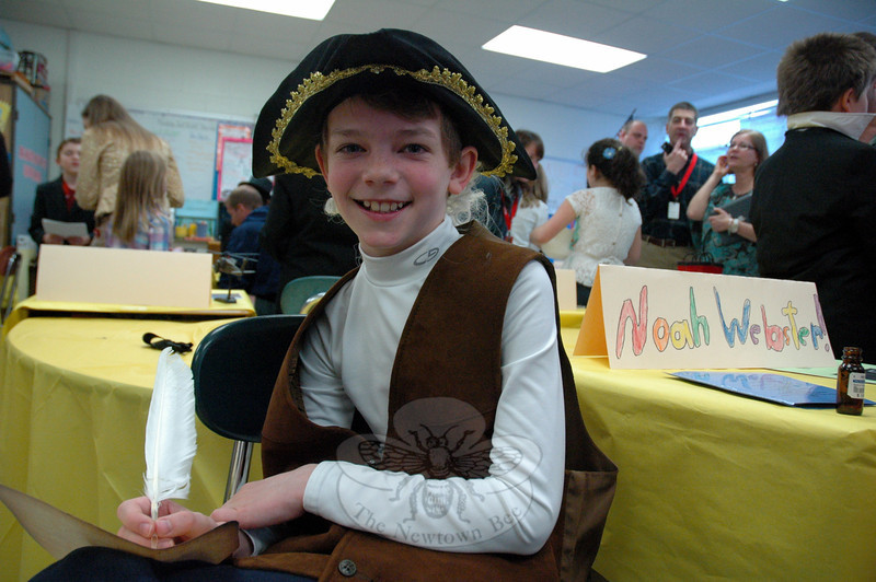 Middle Gate Elementary School fourth grader Owen Reinhart presented Noah Webster during the school's Living Biographies project on Friday, April 25. (Hallabeck photo)