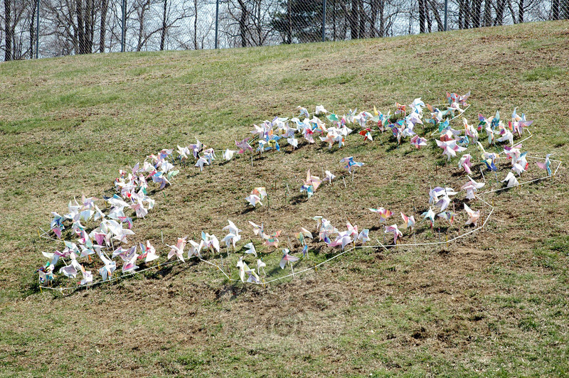 The shape of a flower was outlined in pinwheels made by Middle Gate Elementary School students to highlight Earth Day and kindness. (Hallabeck photo)