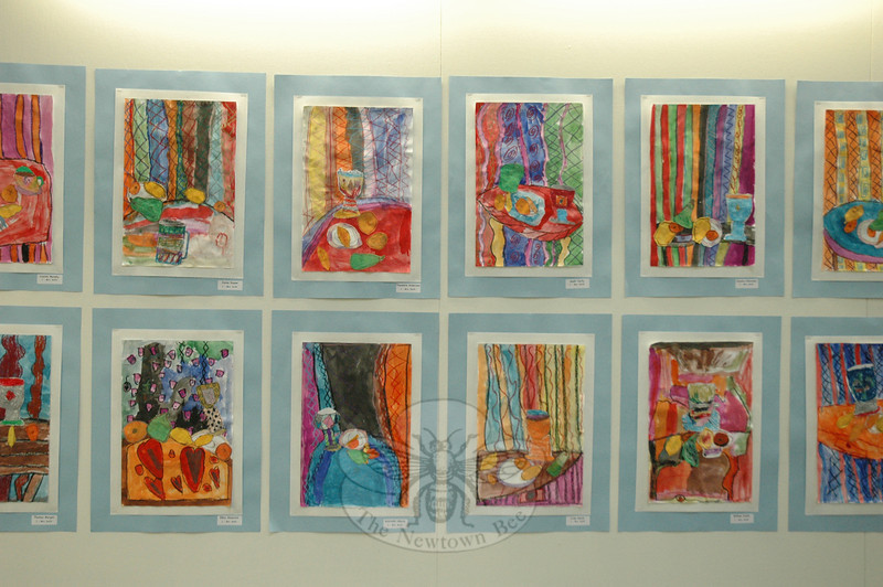 Still life paintings created by first grade Head O' Meadow students were on display at the school's annual art show. (Hallabeck photo)