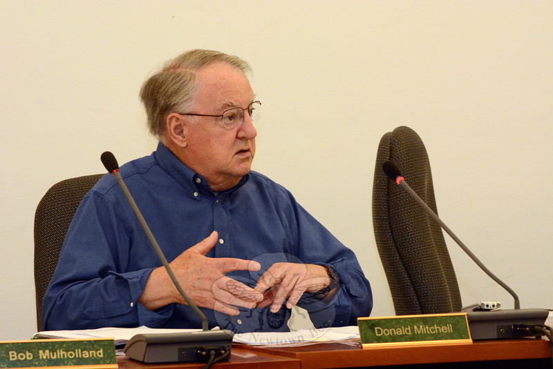 Planning and Zoning Commission (P&Z) Chairman Robert Mulholland discusses proposed zoning regulations that would allow the P&Z to place a one-year moratorium on applications for medical marijuana growing facilities and/or dispensaries. (Gorosko photo)