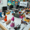 Clay cats and dogs, created by second grade students at Hawley School, were on display during the school's annual art show. (Hallabeck photo)