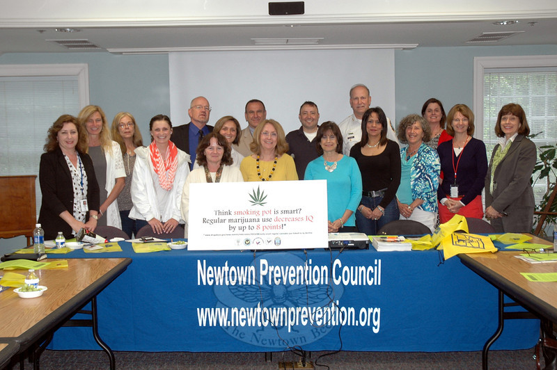 Newtown Prevention Council members and meeting attendees gathered for a photo at the council's last meeting of the school year, held on Thursday, May 15, at C.H. Booth Library. (Hallabeck photo)