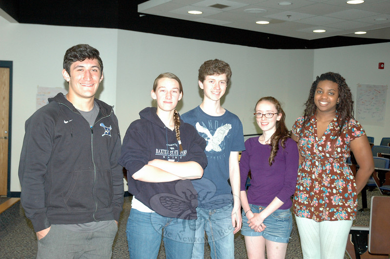 Students in this semester's Junior/Senior Project course at Newtown High School are shown on Monday, May 19, before practicing for their upcoming June 2 presentations. From left are Nick Rubino, Nancy Michaud, Baxter Hankin, Hannah Fitzgerald, and Haley Cobb. (Hallabeck photo)