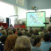 Easton author Elise Broach visited Head O' Meadow School on Tuesday, May 13, and spoke with a number of students in the school's library. During one presentation, Ms Broach shared photos from her life and stories and ideas from which she draws inspiration for her books. Ms Broach's books include The Miniature World of Marvin and James, Treasure on Superstition Mountain, Missing on Superstition Mountain, Masterpiece, Shakespeare's Secret, and Desert Crossing. (Hallabeck photo)