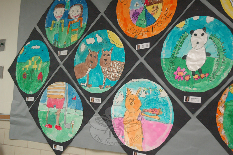 Circular paintings created by second grade students at Hawley Elementary School were on display for the school's annual art show, held on Wednesday, May 14. (Hallabeck photo)