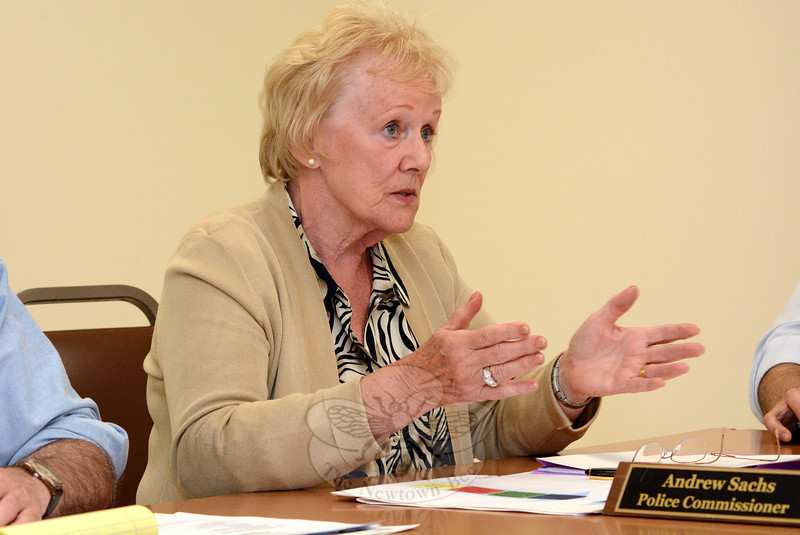 First Selectman Pat Llodra makes a point at a May 6 Police Commission meeting where she discussed the controversial proposal to move the town's emergency radio dispatching from Town Hall South to a regional dispatching center located in Prospect. (Gorosko photo)