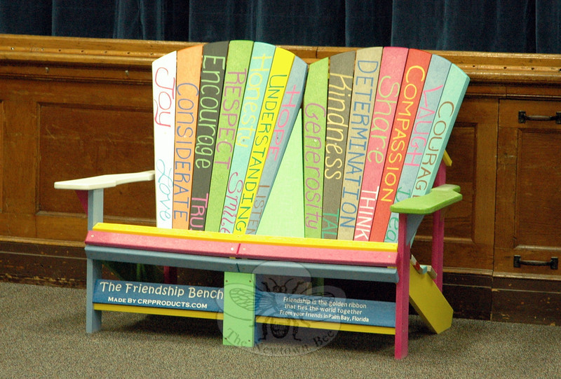 "The Friendship Bench sat inside's Hawley Elementary School's multipurpose room on Thursday, April 24. The bench will eventually be placed on the school's playground, according to lead teacher Roxanne Melaragno. More information about Acaia Woodley, a seventh grade girl from Palm Bay, Florida, who delivered the Friendship Bench to Hawley School, and her organization is available at  <a href=""http://www.tinygirlbigdream.org"">http://www.tinygirlbigdream.org</a>. (Hallabeck photo)"