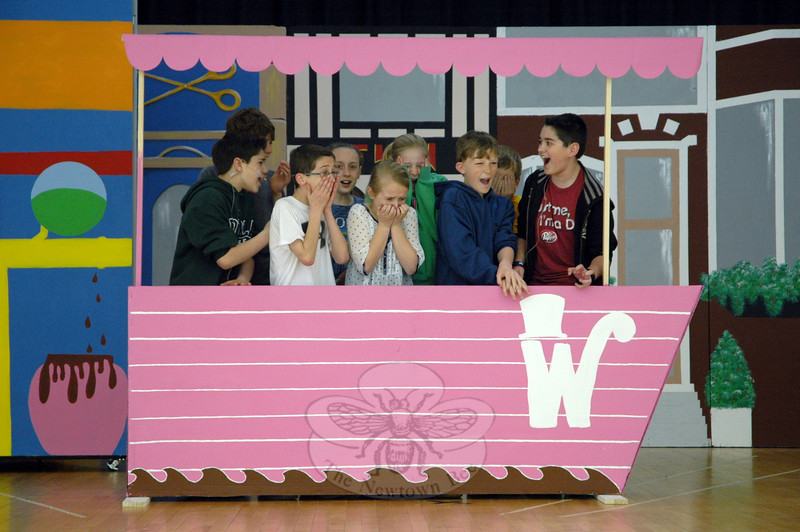 Cast members of Reed Drama Club's upcoming production of Willy Wonka rehearsed on Thursday, May 1. In this scene Willy Wonka, portrayed by William Crebbin, right, shows his visitors around his factory on a boat. (Hallabeck photo)